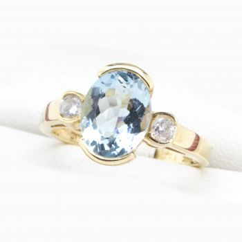 Vintage Aquamarine and Diamond engagement or cocktail ring