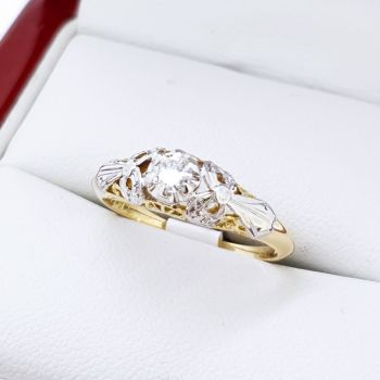 18ct Yellow Gold Engagement Ring, Handmade Vintage Engagement ring, Vintage Jewellery Sydney,  Old Cut Diamond, Platinum