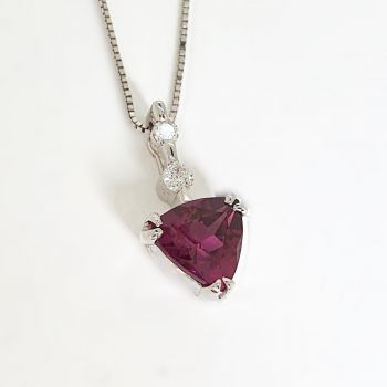 Rhodalite Garnet pendant with Diamonds