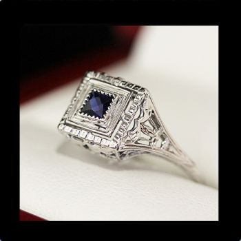 Vintage engagement ring, Art Deco Sapphire engagement ring,