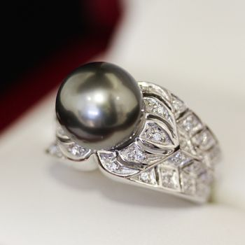 Vintage South Sea Pearl and Diamond engagement ring