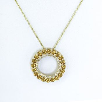 Diamond and Citrine yellow gold circle necklace