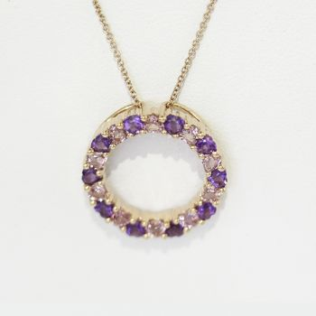 Amethyst & Tourmaline Rose Gold Necklace