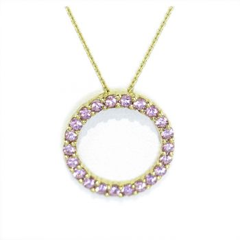 Yellow gold, Pink sapphire pendant necklace