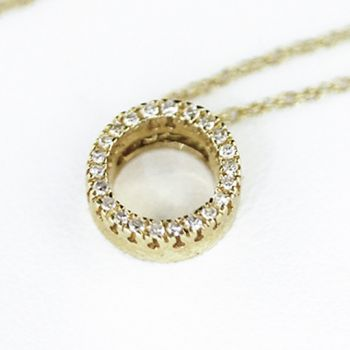 Yellow gold Diamond circle pendant necklace