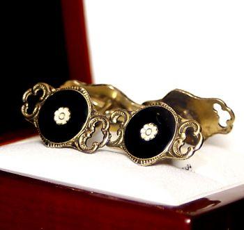 vintage cufflinks in black cufflinks, John Baalerud enamel