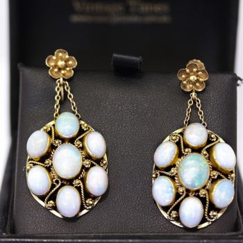 Antique 1930's, 14 stone Opal and gold cluster drop earrings, with lovely twisted wire