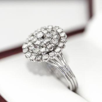 Art Deco Platinum Diamond Starburst Cocktail ring ala 1940s cocktail parties