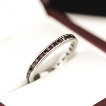 Natural Ruby full Eternity ring, White Gold, Elegant and Lovely
