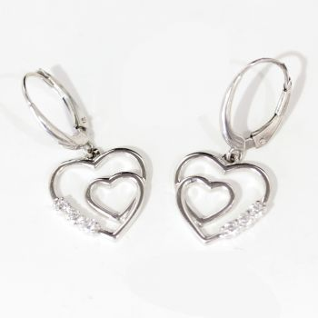 Vintage double heart shaped, 14ct white gold and diamond drop earrings.  Very pretty!