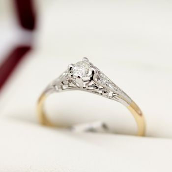 Same sex wedding rings,Vintage Filigree Diamond and Sapphire Ring in 18ct White Gold, Art Deco Jewellery in Sydney, Sydney Vintage Jewellery, Gay marriage, Lesbian engagement ring,