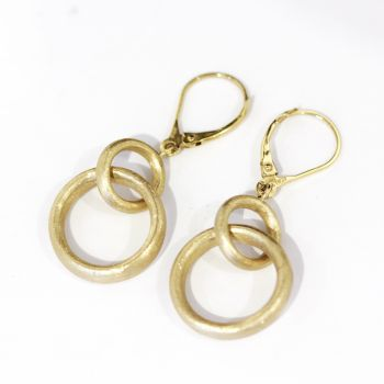 Beautiful Florentine finish, double hoop earrings in 14k yellow gold