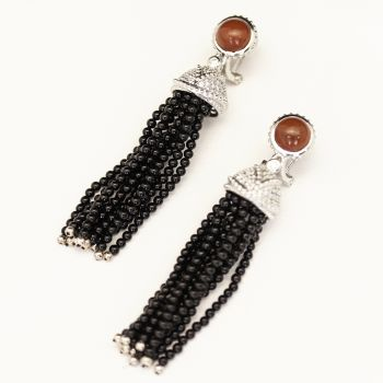 Sterling silver, black onyx, agate and cubic zirconia tassel earrings.