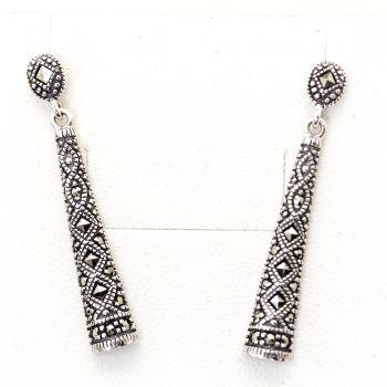 Elegant silver marcasite drop earrings