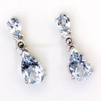 Beautiful blue topaz tear drop shaped earrings