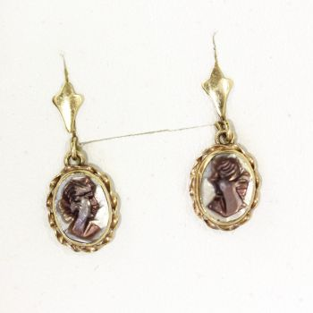 Lovely vintage Abalone Mother of Pearl 14ct gold Cameo drop earrings
