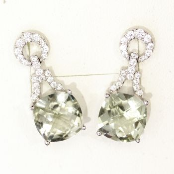 Beautiful cushion cut green Amethyst and cz earrings