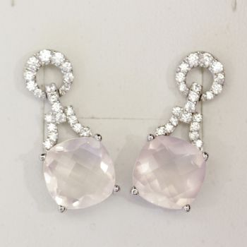 Beautiful cushion cut rose quartz and cz earrings
