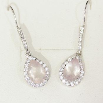 Gorgeous pear shaped Rose Quartz and cz long drop earrings