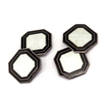 Vintage Ivory enamel with black border octagonal cufflinks C1930's