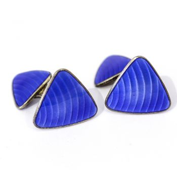 Stunning vintage Royal blue enamel double-sided cufflinks, silver, Norway