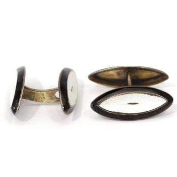 "Aksel Holmsen vintage enamel ""Eye"" shaped sterling silver cufflinks"