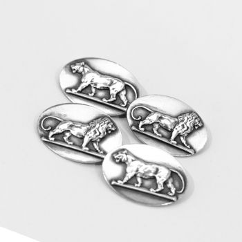 Vintage sterling silver oval cufflinks with lion/lioness design