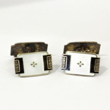 Art Deco Ivory and black enamel double sided cufflinks