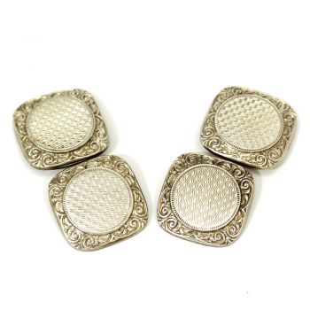 Vintage 14ct gold square engraved cufflinks