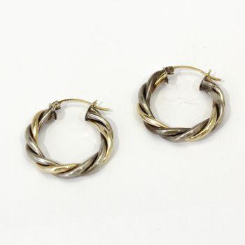 Lovely Vintage Gold twist hoop earrings in two tone 10k gold