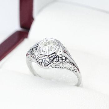 Vintage Art Deco Old European cut Diamond engagement ring, .83cts G VS Diamond solitaire filigree ring