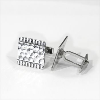 Vintage large silver engraved square cufflinks