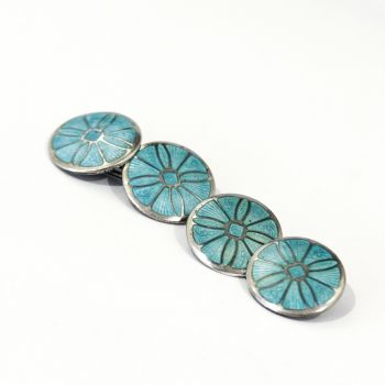 """Art Deco Sterling Silver guillioche cufflinks in Aqua blue with a """"wheel"""" design"""
