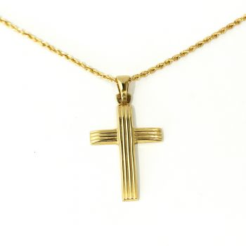 Beautiful new 18ct yellow gold cross and necklace