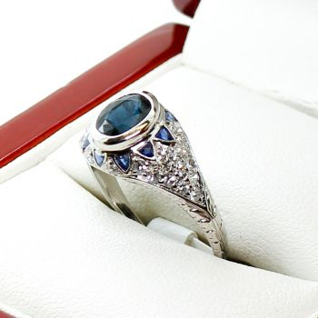 Art Deco Platinum Sapphire Ring, Art Deco Jewellery Sydney
