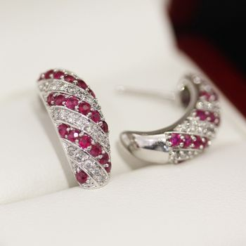 Very nice Huggie style natural Ruby and G colour Diamond earrings.  A real set of statement earrings, these earrings can be worn everyday
