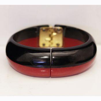 Bakelite Bangle - Cherry Red and Black Clamper Bangle.  Art Deco Era Bakelite bangle.