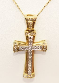 Lovely gold and rhodium 40 stone Diamond cross pendant and chain