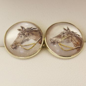 Antique 1920s reverse intaglio Essex crystal horse head cuff links, in 14ct gold.