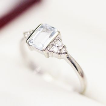 Aquamarine and Diamond engagement ring.