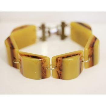 Art Deco era Bakelite butterscotch  and Tortoise shell bracelet.  Vintage Bakelite bracelet.