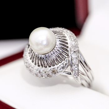 handmade antique pearl engagement ring