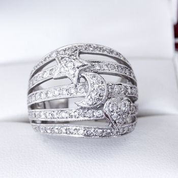 thick band celestial vintage ring