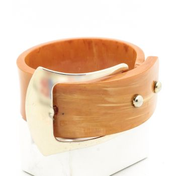 Vintage Light Butterscotch Bakelite Bangle, with amazing buckle feature. One of a kind!