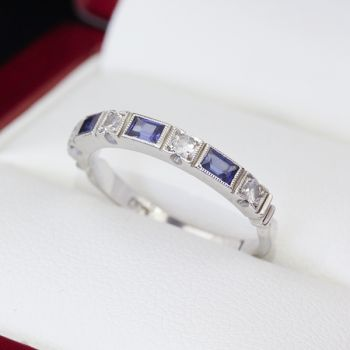 Sapphire and Diamond square front half eternity ring.