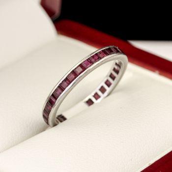 Dazzling Thai full Ruby Eternity ring, in white gold setting