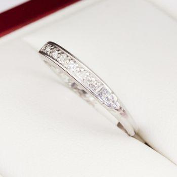 Diamond floral engraving platinum ring