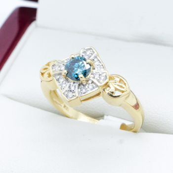 Blue Diamond 18k Engagement or Cocktail Ring