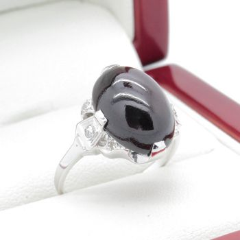 Antique Almandite Garnet nd Diamond Engraved Ring in 14k White Gold Filigree, Handmade, Art Deco Ring