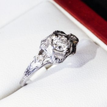 Diamond and white gold ring, Filigree setting